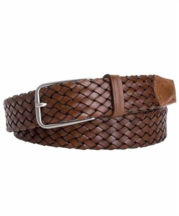 BELT LEATHER TUB BRAIDED BROWN