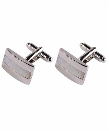CUFFLINK RHODIUM AND WHITE MOP
